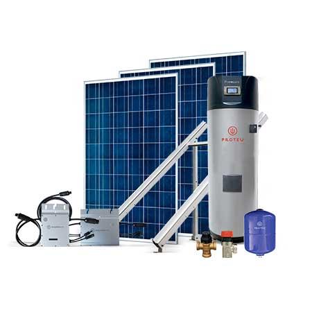 Proteu® Kit Fotovoltaico 3 Paineis C/Bomba de Calor 300 L